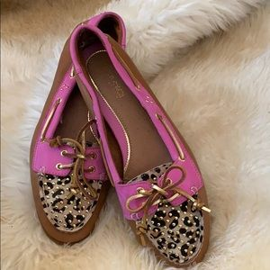 Sperry topsiders size 9 pink,  gold and tan